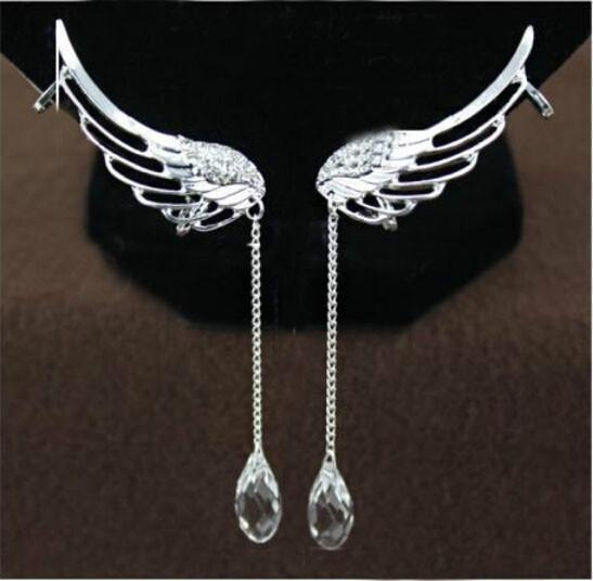 Angel Wing Long Drop Dangle Earrings - Superdeals-Cart