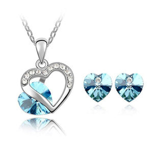 New 2014 Wholesale Crystal Jewelry Austrian crystal Heart pendants necklace earrings jewelry sets silver plated for women - Superdeals-Cart