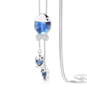 Fish Silver Crystal Pendant Necklace - Superdeals-Cart