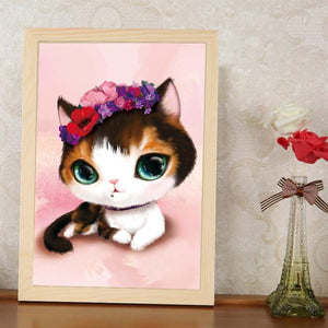 5D DIY Diamond Embroidery Diamond Mosaic Bedroom Cartoon Animals Cute Cat Point Diamond Paste Diamond Painting Cross Stitch - Superdeals-Cart