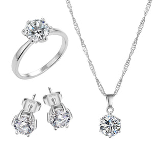 Jewelry Set Exclusive - Crystal Necklace, Earrings & Rings - Superdeals-Cart