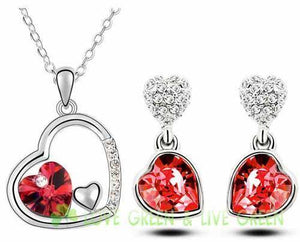 Free Shipping top quality girl women accessories bridal   white Gold Plated Crystal double heart Necklace Earrings jewelry Set - Superdeals-Cart