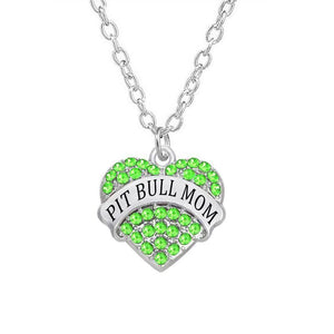 Pit Bull Mom Collection - Crystal Stone Charm Heart Pit Bull Mom Necklace - Superdeals-Cart