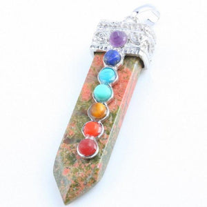 Fashion Rock Natural Crystal Quartz Healing Point Chakra Stone Pendant Necklace - Superdeals-Cart