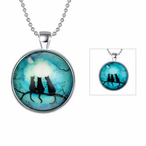 JEXXI Gorgeous Jewelry Cats On Tree Glowing Pendant Necklace Stainless Steel Long Chain Luminous Glass Cabochon Accessories - Superdeals-Cart