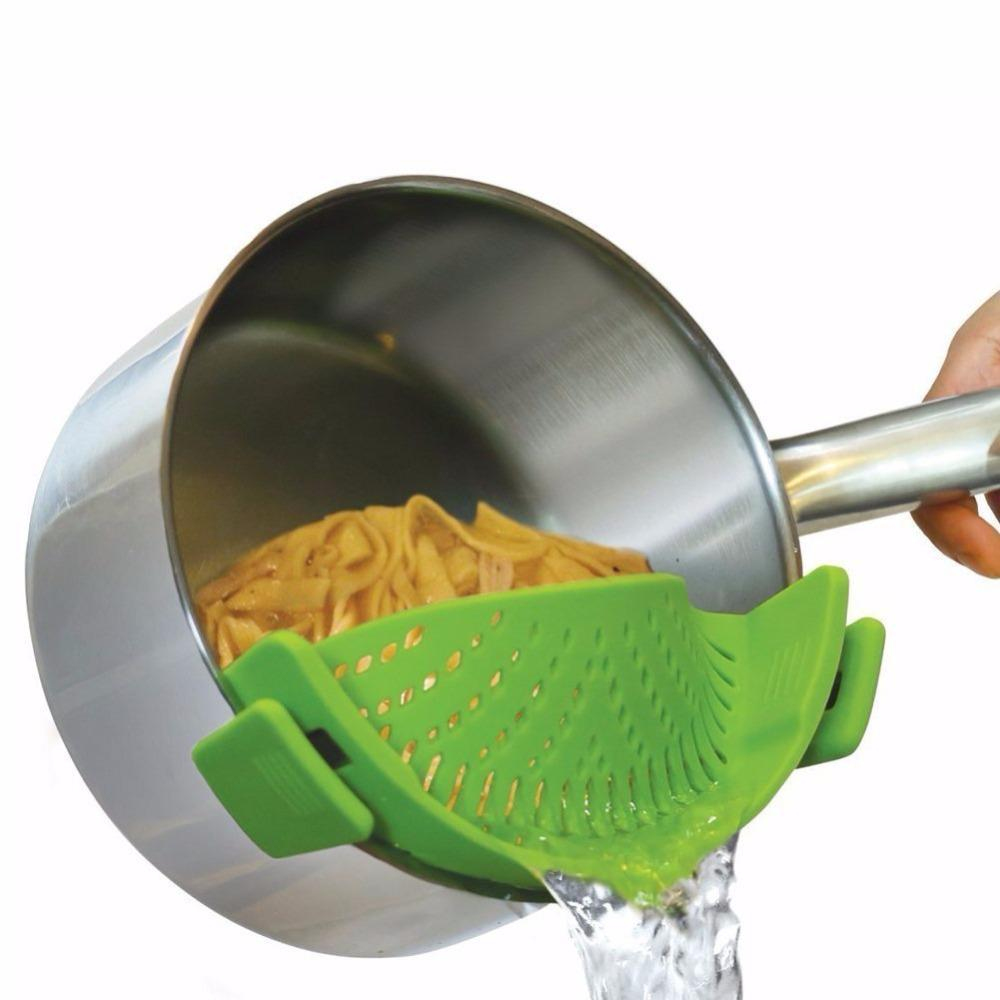 Silicone Colanders Kitchen Clip On Pot Strainer Drainer For Draining Excess Liquid Univers Draining Pasta Vegetable Cookware - Superdeals-Cart
