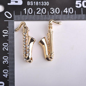 Gold Saxophone Crystal Brooch - Superdeals-Cart