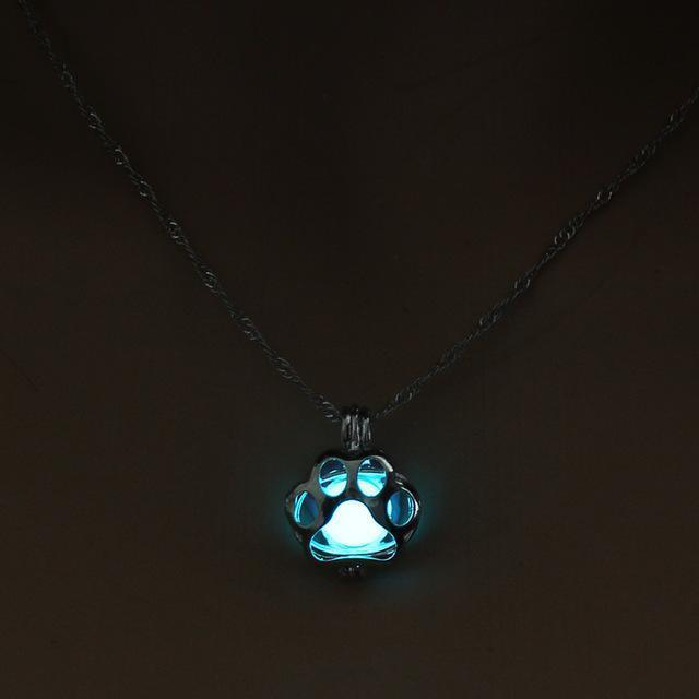 Glow in The Dark Dog Paw Necklace - Superdeals-Cart
