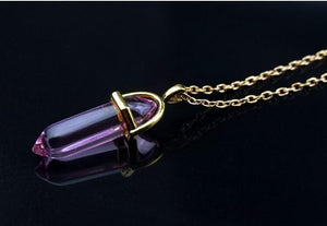 Natural Stone Bullet Shape Healing Pendant Necklaces - Superdeals-Cart