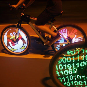 Programmable Bicycle Lights 128 LED DIY Bike Wheel Spokes Light Electric Bike Tire Lamp Screen Display Image For Night Cycling - Superdeals-Cart