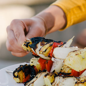This Jalapeño Veggie Skewer Recipe makes an easy vegan feast on the grill with indi chocolate spice rubs.