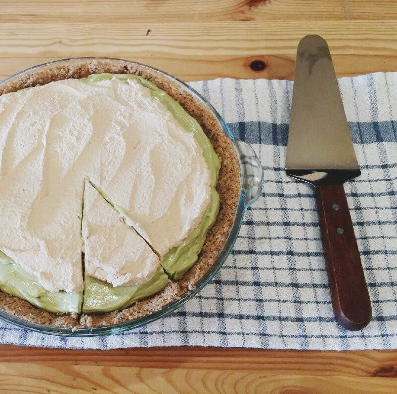 Avocado Pie with Cacao Nib Crust with Coconut Chai Tea Cream