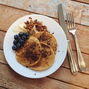 butternut squash molé pancakes with sage brown butter