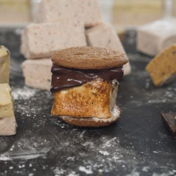 Chai Infused Marshmallows with Whiskey Infused Cacao Nibs