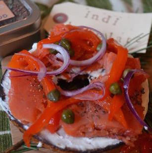 Pacific Northwest Bagel with indi chocolate Seafood Spice Rub Lox