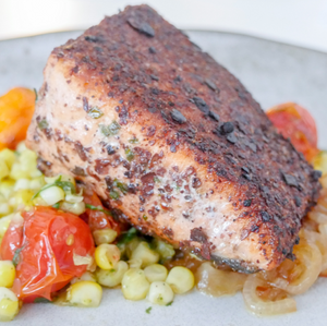 Pan-Seared King Salmon with Roasted Corn & Tomato Salad
