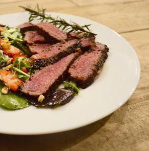 indi chocolate Jalapeño Sage Steak with cacao nib Salad