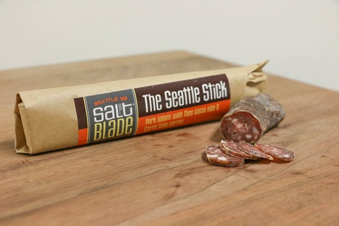Salt Blade Seattle Stick Salami with indi chocolate cocoa nibs is a Seattle favorite