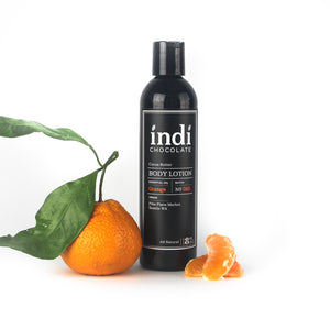 indi chocolate Orange Body Lotion - 8 oz - Made with the same cocoa butter we use to make our bean to bar chocolate, this lotion is a real treat. Made with great ingredients, this lotion absorbs well without leaving a greasy residue. Great for everyone on your list, including you. Great for individual, corporate, holiday and gift giving.