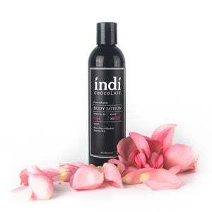 indi chocolate Rose Body Lotion - 8 oz - Made with the same cocoa butter we use to make our bean to bar chocolate, this lotion is a real treat. Made with great ingredients, this lotion absorbs well without leaving a greasy residue. Great for everyone on your list, including you. Great for individual, corporate, holiday and gift giving.