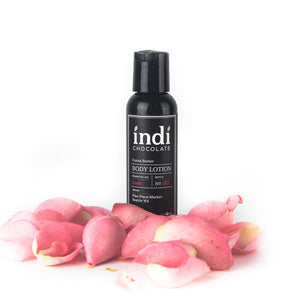 indi chocolate Body Lotion - 2 oz - Made with the same cocoa butter we use to make our bean to bar chocolate, this lotion is a real treat. Made with great ingredients, this lotion absorbs well without leaving a greasy residue. Great for everyone on your list, including you. Great for individual, corporate, holiday and gift giving.