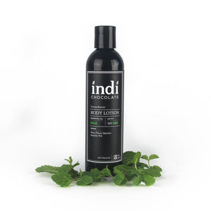 indi chocolate Mint Body Lotion - 8 oz - Made with the same cocoa butter we use to make our bean to bar chocolate, this lotion is a real treat. Made with great ingredients, this lotion absorbs well without leaving a greasy residue. Great for everyone on your list, including you. Great for individual, corporate, holiday and gift giving.