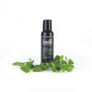 indi chocolate Mint Body Lotion - 2 oz - Made with the same cocoa butter we use to make our bean to bar chocolate, this lotion is a real treat. Made with great ingredients, this lotion absorbs well without leaving a greasy residue. Great for everyone on your list, including you. Great for individual, corporate, holiday and gift giving.
