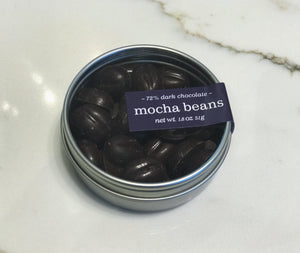 indi chocolate Mocha Beans include locally roasted, ethically sourced, small batch coffee along with our bean to bar chocolate. All made in the indi chocolate factory in Seattle's iconic Pike Place Market factory on Western Ave.