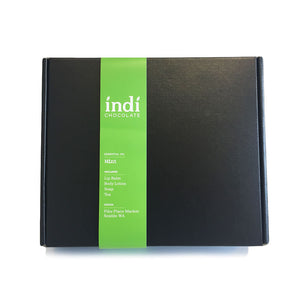 The indi chocolate Mint Gift Set comes all boxed up to create a wonderful gift set. Great for putting under the tree for the holidays.