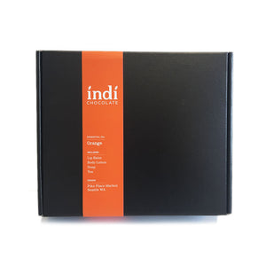indi chocolate Orange Gift Set is all wrapped up and ready to gift. This is a great individual, corporate self and holiday gift.  A great gift for under the tree, as well.