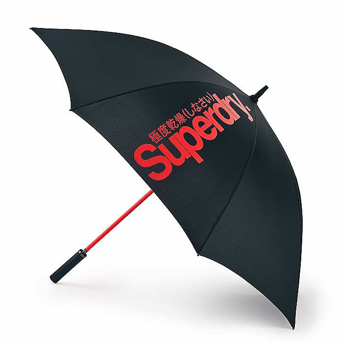 SuperDry Black & Orange Golf Umbrella