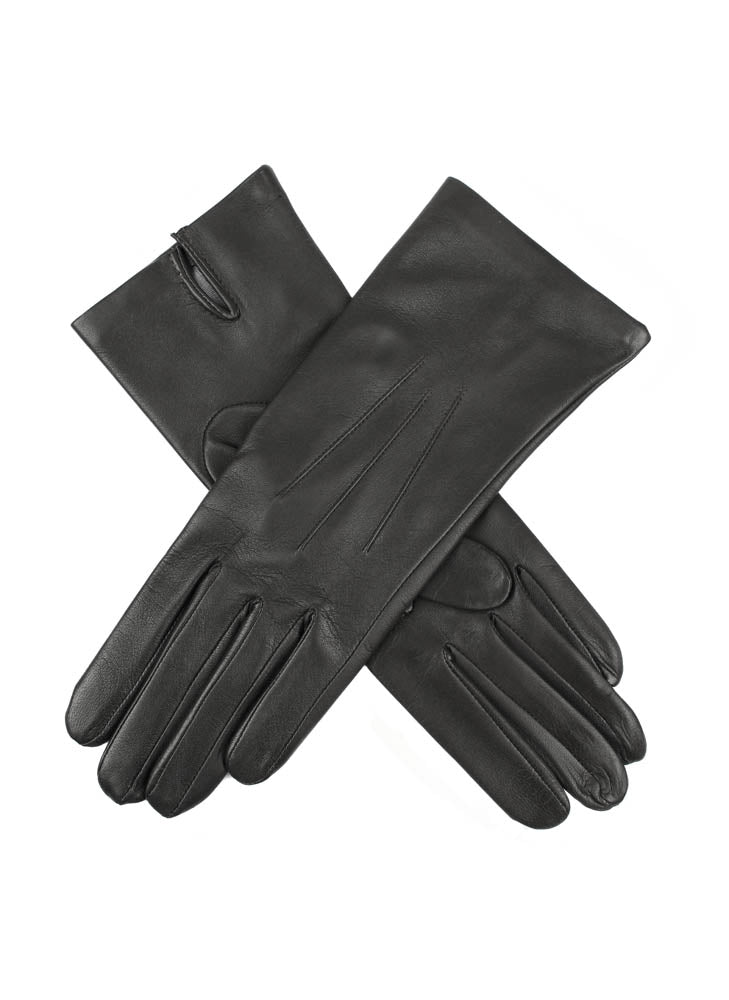 Ladies Black Dents Silk Lined Leather Gloves 'Felicity' - Size 8