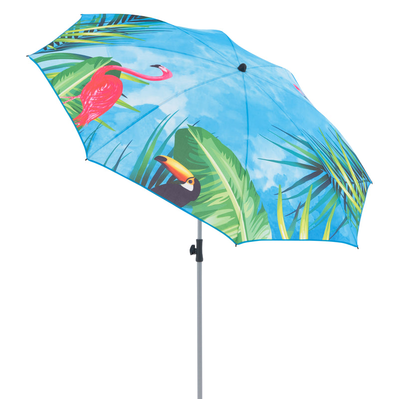 Doppler Funky UV 50+ Protection 2 Metre Beach/Garden Parasol - Flamingo & Toucan