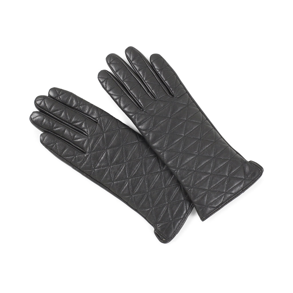 Markberg 'Jacqui' Glove in Quilted Black Leather - Size 7.5