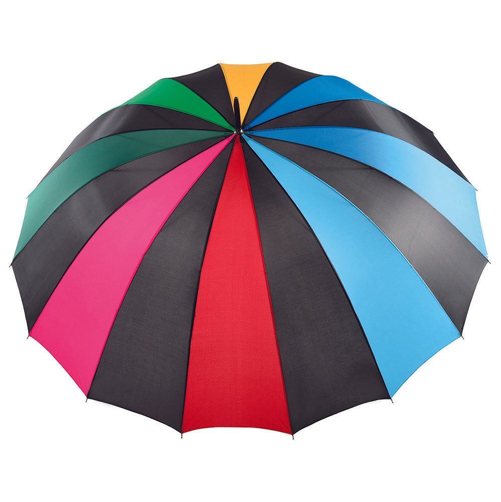 16 Rib Wood Handle Golf Umbrella - Black / Colour Alternating