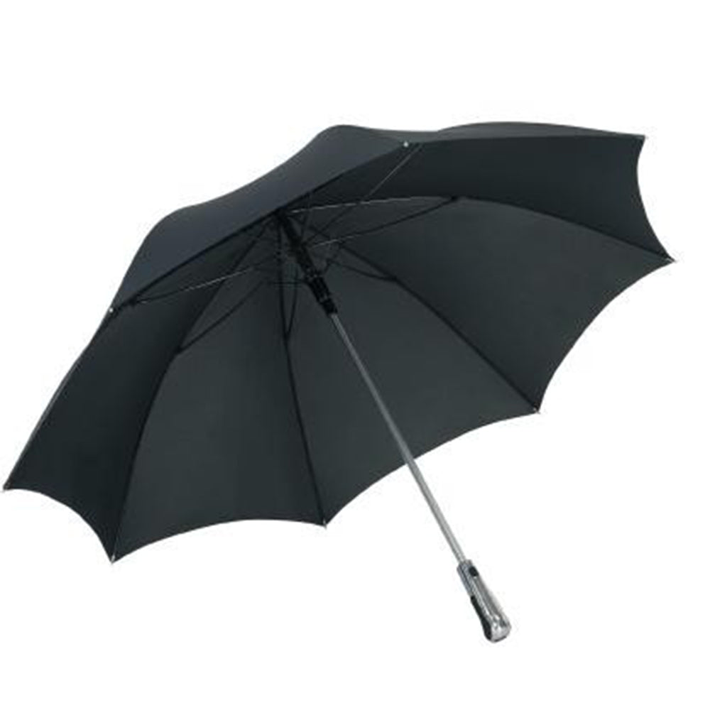 FARE Media Luxury Chrome & Leather Handle Black Golf Umbrella