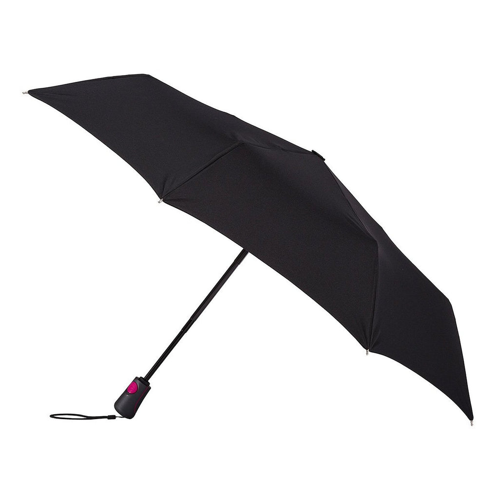 Totes X-tra Strong Auto Open And Close Umbrella - Black with Pink Highlights
