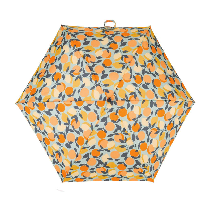 Totes Mini 5 Section Folding Umbrella - Oranges & Lemons