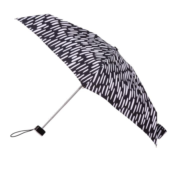 Totes Compact 5 Section Flat B&W Animal Dash Folding Umbrella