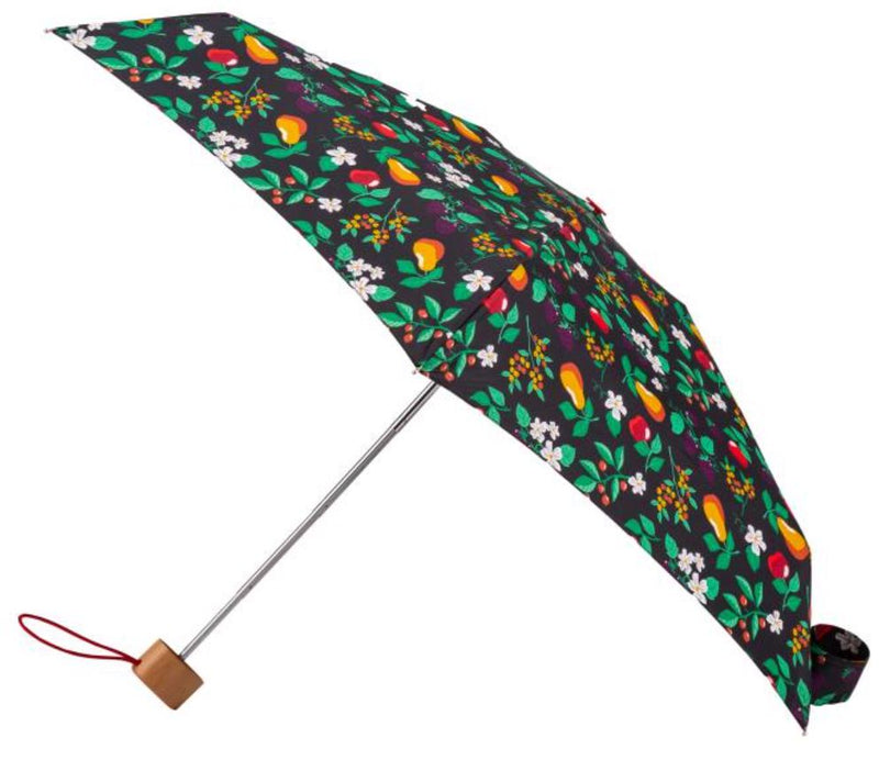 Totes Compact 5 Section Flat Forest Fruits Folding Umbrella