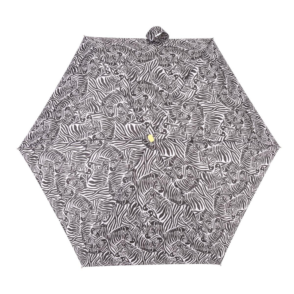 Totes Compact Flat 5 Section Folding Umbrella - Zebra Print