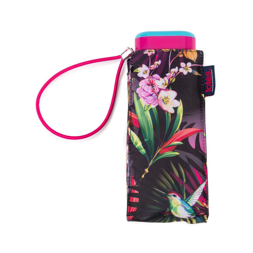 Totes Compact Flat 5 Section Folding Umbrella - Tropical Hummingbird