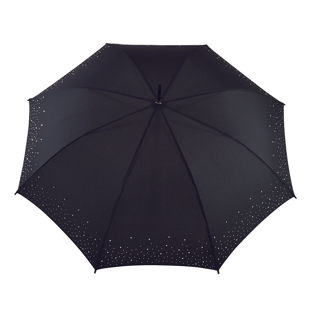 Ladies Diamante Sparkle Automatic Umbrella - Black