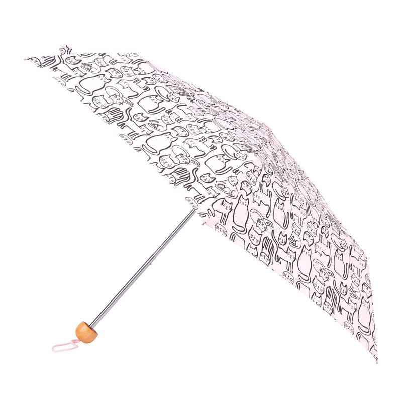 Totes Mini 3 Section Folding Umbrella - Scribble Cats