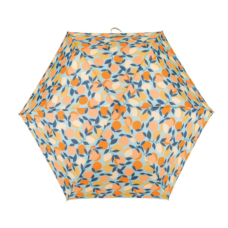 Totes Mini 3 Section Folding Umbrella - Oranges & Lemons