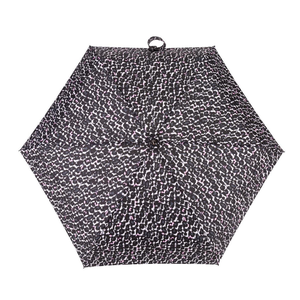 Totes Tiny X-tra Strong 5 Section Folding Umbrella - Pink & Grey Animal Print