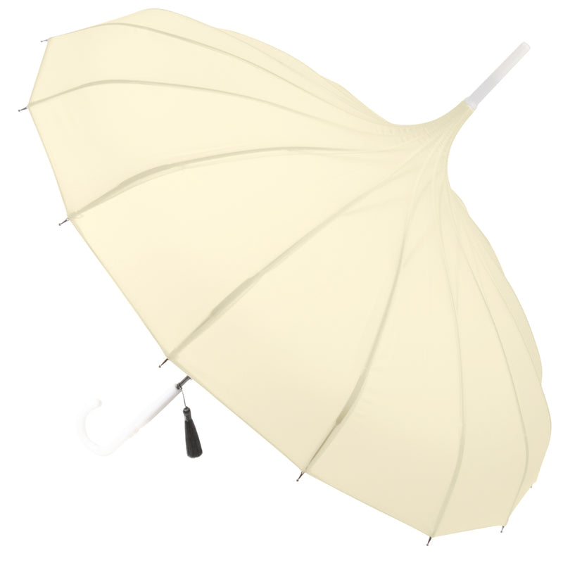 Ladies Walking Length Pagoda Umbrella with Tassel Detail - Ivory