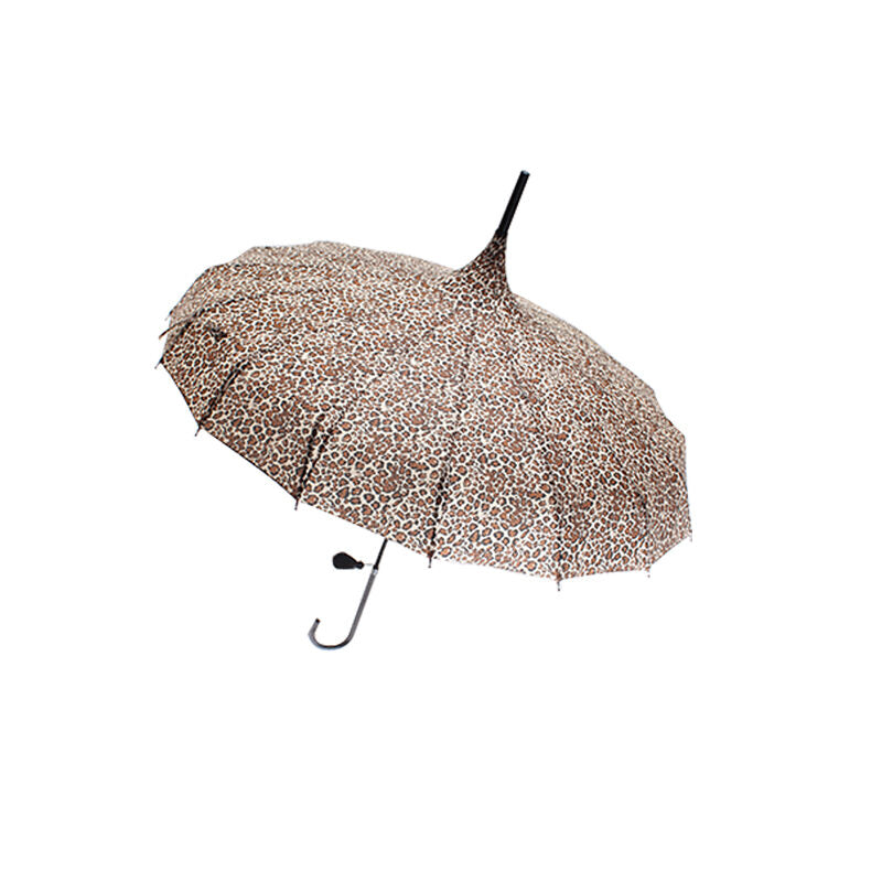 Ladies Walking Length Pagoda Umbrella with Tassel Detail - Leopard