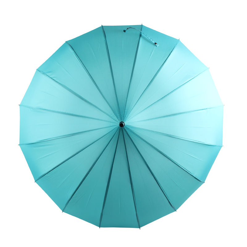 Ladies Walking Length Pagoda Umbrella with Tassel Detail - Teal