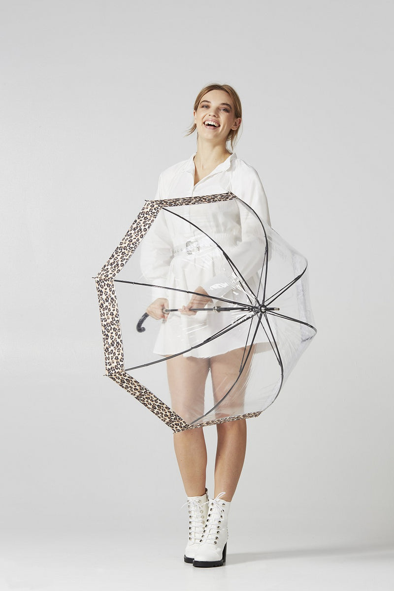 Fulton Birdcage Luxe Clear Dome Umbrella - Natural Leopard Border